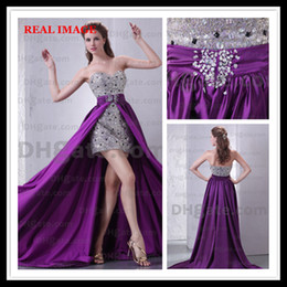 Wholesale Sweetheart Hi Lo Prom Dresses - 2015 Sexy Evening Dresses Detachable Over Mini Skirt Sequins Tulle Prom Dresses Dhyz 01