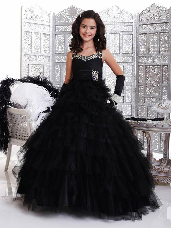 2013 Princess Black Kids Pageant Dresses Little Girls Party Beaded ...