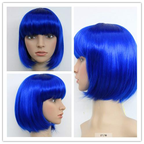 Blue Hair Anime Cosplay Wigs Medium Length Super Model Costume Wig