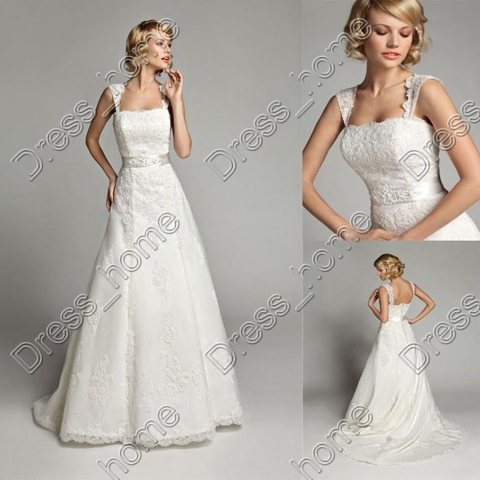 Simple Elegant Wedding Dresses With Sleeves: Newest Simple Design! Elegant Bridal Dress A Line Cap