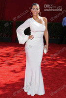 Wholesale Kim Kardashian White Elegant Dress - New White One Sleeve Simple Elegant Celebrity Dress CBD075 Kim Kardashian