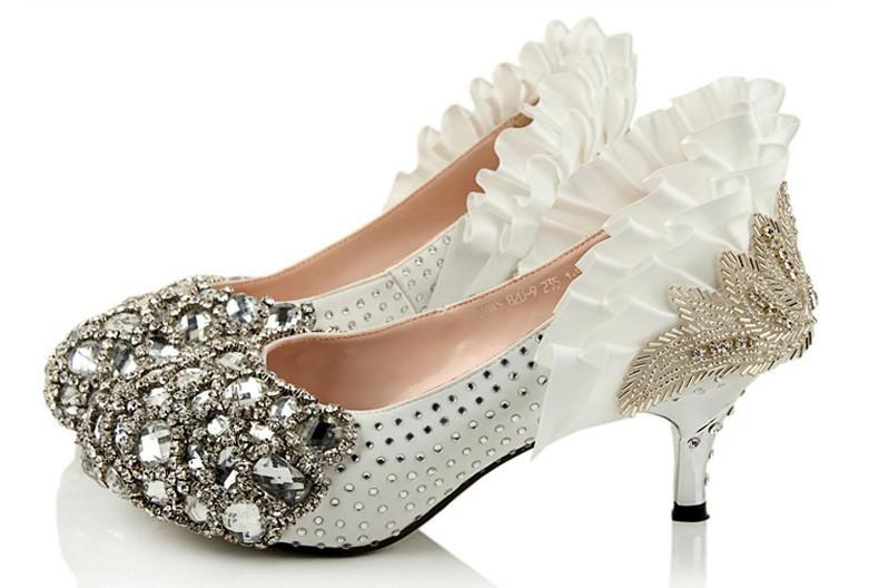 Wholesalen Low Heel Silver Bead Rhinestone High Heels Bridal ...