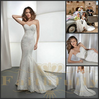 Wholesale Demetrios Mermaid Dresses - Glamorous Mermaid Wedding Dresses 2017 Lace Satin Sweetheart Wedding Gowns Court Train Beaded Belt Demetrios 1443 Bridal Gowns