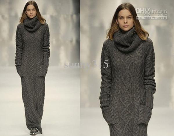 Frauen Pullover Maxi Lange Strickkleid Kleider Oberbekleidung Damen Sweatershirts Lange Röcke Winterkleid