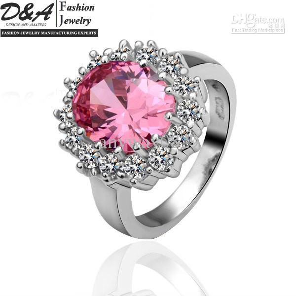 54fef5f0d28a0 Wholesale Fashion Jewelry 18K White Gold Plated Pink Gemstone Crystal  Wedding Rings For Women JZ030