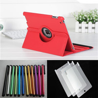 Wholesale Ipad Leather Stylus - 100pcs Leather case for ipad+ 100pcs Stylus pen+100pcs Screen Protector