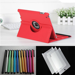 Wholesale Ipad Cases Pen - 100pcs Leather case for ipad+ 100pcs Stylus pen+100pcs Screen Protector
