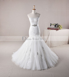 Wholesale Dresses Made Usa - Free shipping USA New Wedding Dress Strapless Mermaid Lace Appliques Crystal Bridal Gown AH1305 Floor Length