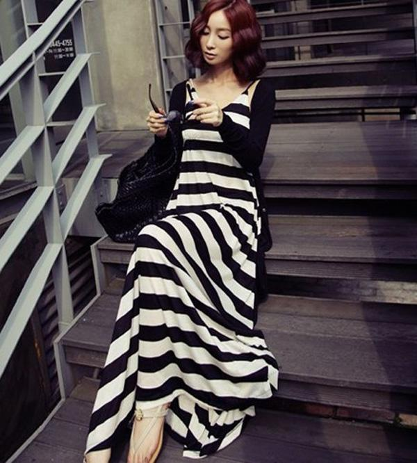 Plus Size Dames Tweedelige Jurken Zwart Wit Gestreepte Lange Jurk Maxi Jurken Rokken + Black Cardigans Top Knit Bovenkleding