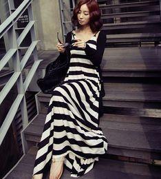 Wholesale Striped Maxi Skirts - Plus Size Women Two-piece Dresses Black White Striped Long Dress Maxi Dresses Skirts + Black Cardigans Top Knit Outerwear