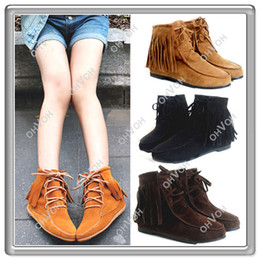 Wholesale Shoes Soft Inside - S5Q Pretty girls Classic Soft Tassels Lace UP Flats Heels Inside Shoes Ankle Boots Free Shipping AAABDF