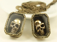 Wholesale Vintage Skull Pendants - New Punk Vintage Style Bronze Metal Long Chain Box Skull Pendant Necklace 12pcs lot Unisex