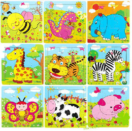 Wood Animal Figured Toys NZ - Wholesale 9 wooden puzzle animal jigsaw puzzle series children's toys puzzle educational toys