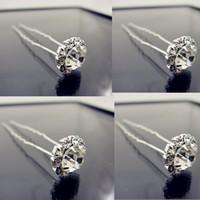 Wholesale Hair Pins Crystal Clear - Free Shipping Clear U Shape Crystal Wedding Bridal Hair Pin Hair Clip Hair Accessories