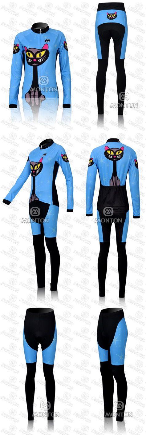 DAMEN WINTER FLEECE THERMAL CYCLING LANGE JERSEY + HOSE 2011 BLUE CAT-PICK GRÖSSE: XS-3XL