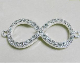 Wholesale Infinity Beads Connector - Silver Plated White Rhinestone No8 Infinity Crystal pave Disco Beads Connector Charm making bracelet Free shipping