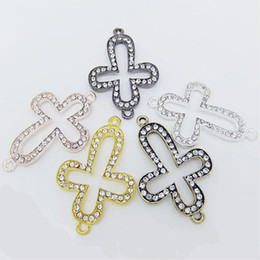 Wholesale Curved Metal Connector Beads - 43*29mm Mixed Plated Curved Sideways Clear Rhinestone Crystal Cross Connector Bracelet Charm Beads