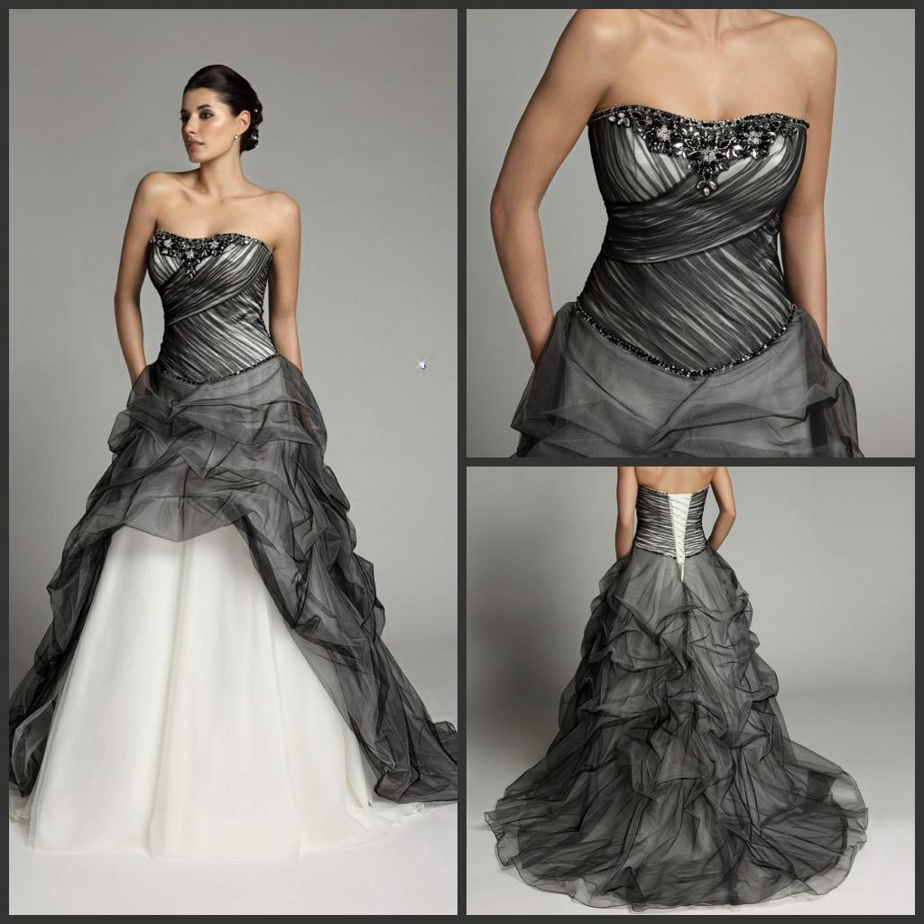 Discount Christmas Strapless Black White Color Accented Bridal Gowns ...