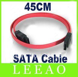 Wholesale Hd Ata - 500pcs lot # 45cm Red Serial ATA SATA HDD Hard Drive HD Data Signal Cable Lead Up to 150MBps