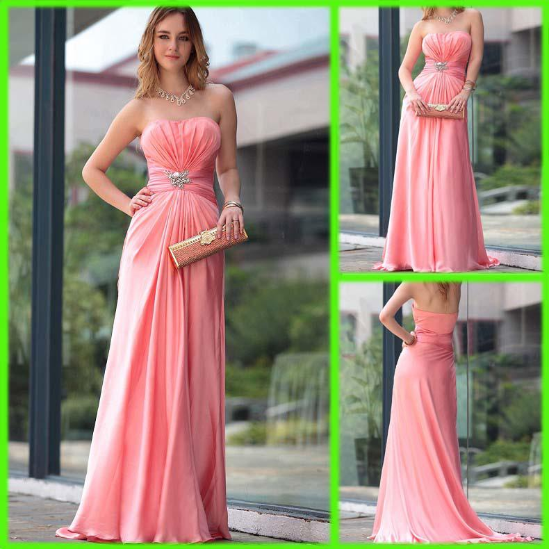 2013 Long Bridesmaid Dresses Noble Chiffon Strapless Beaded Sexy ...