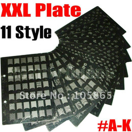 Wholesale Nail Art Stamping Xxl - [AG342]11 Style XXL Stamp Stamping Image Plate French Konad Print Nail Art Large BIG Template HQ DIY #A - K