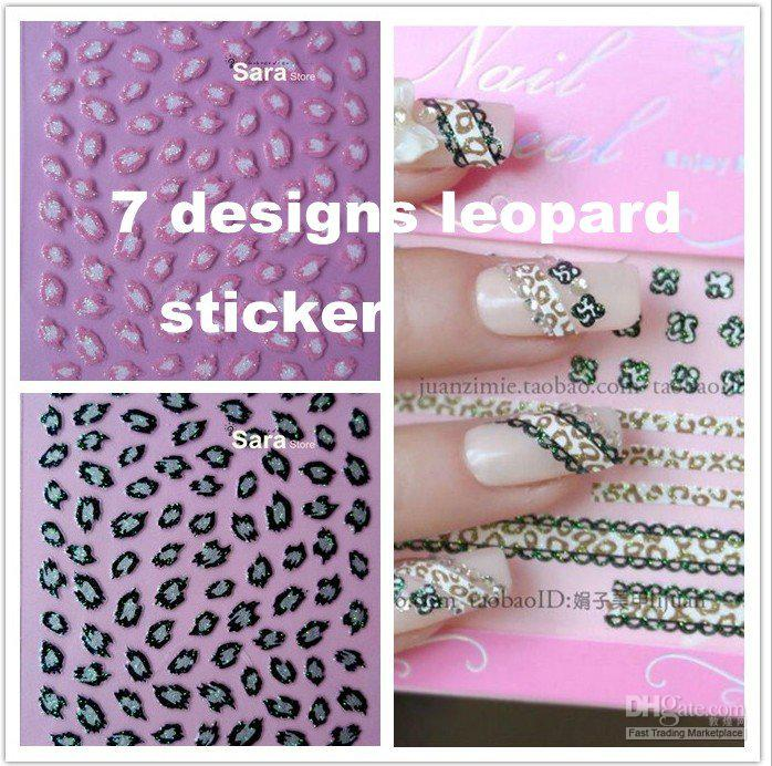 7 Designs Nail Art Stickers Decals In Glitter Leopard Animal Print