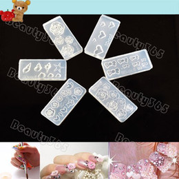 Wholesale 3d Acrylic Nail Art Molds - Free Shipping 6 Style 3D Acrylic Flower Decoration Fashion Nail Art 3D Molds Nail Art Template 954