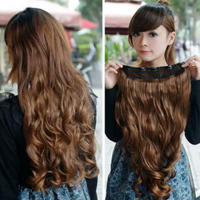 Synthetic Hair Lace CLIP IN HAIR EXTENSIONS CHESTNUT Head Bleach