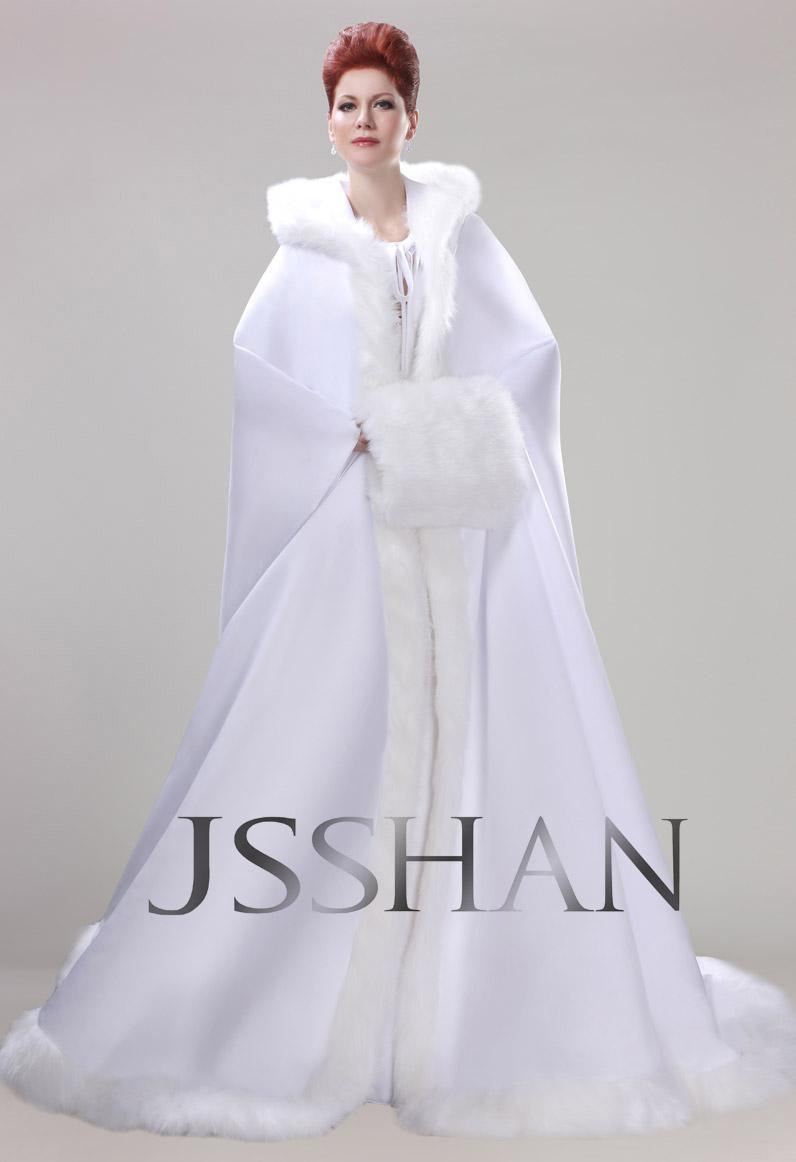 New Style Actual Image Winter Long Sleeves Wedding Dresses Hooded Winter Cape Coat Bridal Gowns