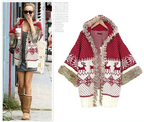 2017 Womens Sweater Hooded Cloak Cardigan Poncho Cape Coat Fur ...
