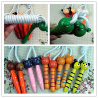 Wholesale Frog Bee - 500pcs lots Kids Wood Skipping Jump Rope Wooden Green Frog Bee Cartoon Animals Toy Party Favor Supply Fitness Free Shipping