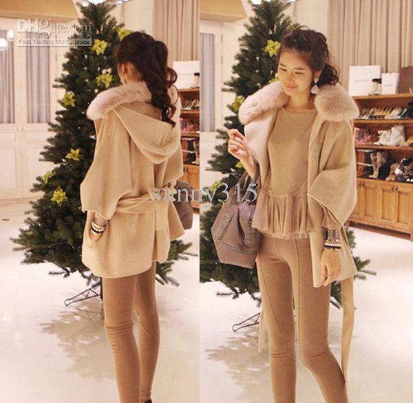 여성 의류 두건있는 판초 케이프 울 코트 외투 카디건 망토 모피 칼라 까마귀 겨울 의류