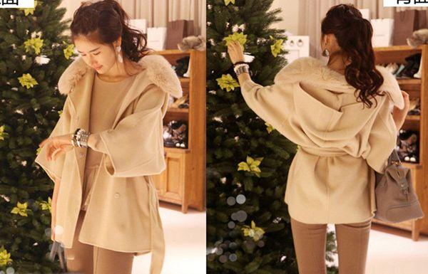 Kvinnor Kläder Hooded Poncho Cape Wool Coat Overcoat Cardigan Cloak Fur Collar Hoodie Outwear Winter Coats