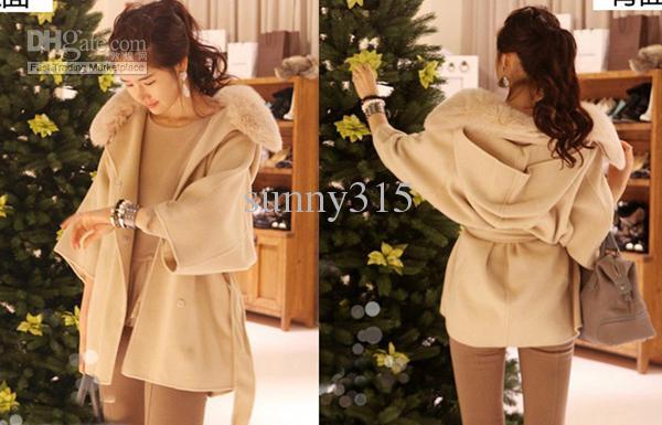 Women Clothes Hooded Poncho Cape Wool Coat Overcoat Cardigan Cloak Fur Collar Hoodie Outwear Winter Coats