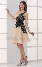 Wholesale One Shoulder Gold Homecoming Dresses - 2015 Sexy Mini A Line Lace Champagne Homecoming Dresses One Shoulder Pleated Sequins Dresses MZ049