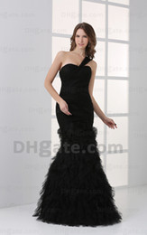 Pli Une Robe À L'épaule Pas Cher-2015 Sexy Black Mermaid en mousseline de soie plissé Robes de bal Tull Ruffled One Shoulder Evening Gown dhyz 01