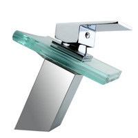 Wholesale Glass Taps Basins - Square Glass Waterfall Faucet basin Mixer Tap NC-0852
