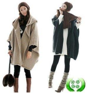 2017 Womens Coats Plus Size Cardigan Poncho Wool Sweater Coats Bat ...