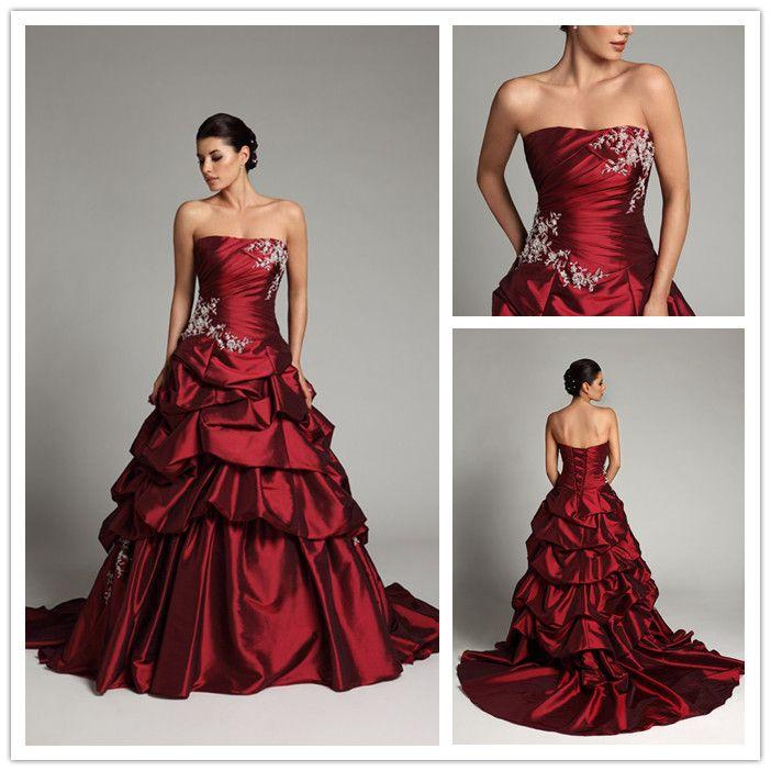 Allure Dark Red Wedding Dresses Satin Applique Court Floor Length ...