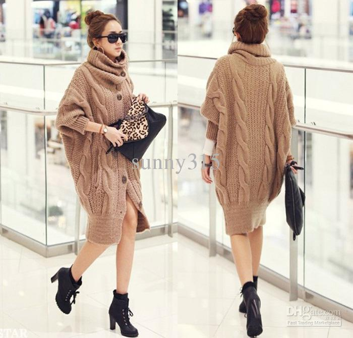 Größe Damen Kleidung Rollkragen Fledermausärmel Strickjacke Poncho Cape Pullover Mantel Lange Wolle Pullover Kleid Oberbekleidung