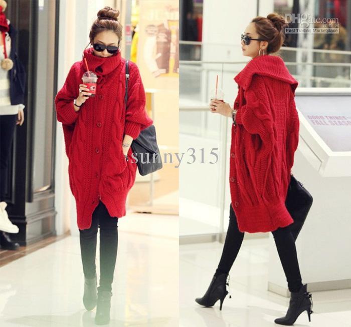 Vêtements grande taille femme col roulé manches chauve-souris cardigan Poncho cape pull manteau long laine chandails robe vêtements d'extérieur