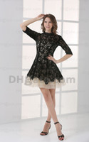 Wholesale Elbow Sleeve Lace Dresses - 2015 Sexy Mini Black and White A Line Lace Homecoming Dresses Tulle Elbow Cocktail Dresses HW053