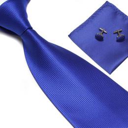 Solid blue green necktie online shopping - fashion necktie neck tie set solid color men s ties business tie cufflinks hankies Pocket square