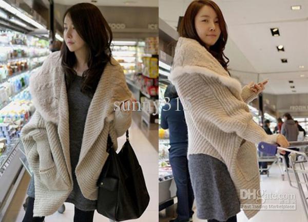 2015 femmes plus la taille cardigan poncho cape pull manteaux col de fourrure veste sweatershirts hiver pardessus survêtement