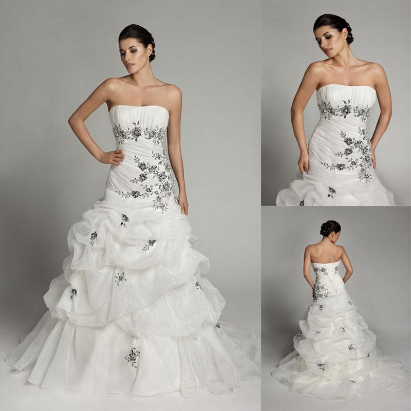 black and white wedding dresses for sale sheath wedding gowns strapless organza ruffle 1824