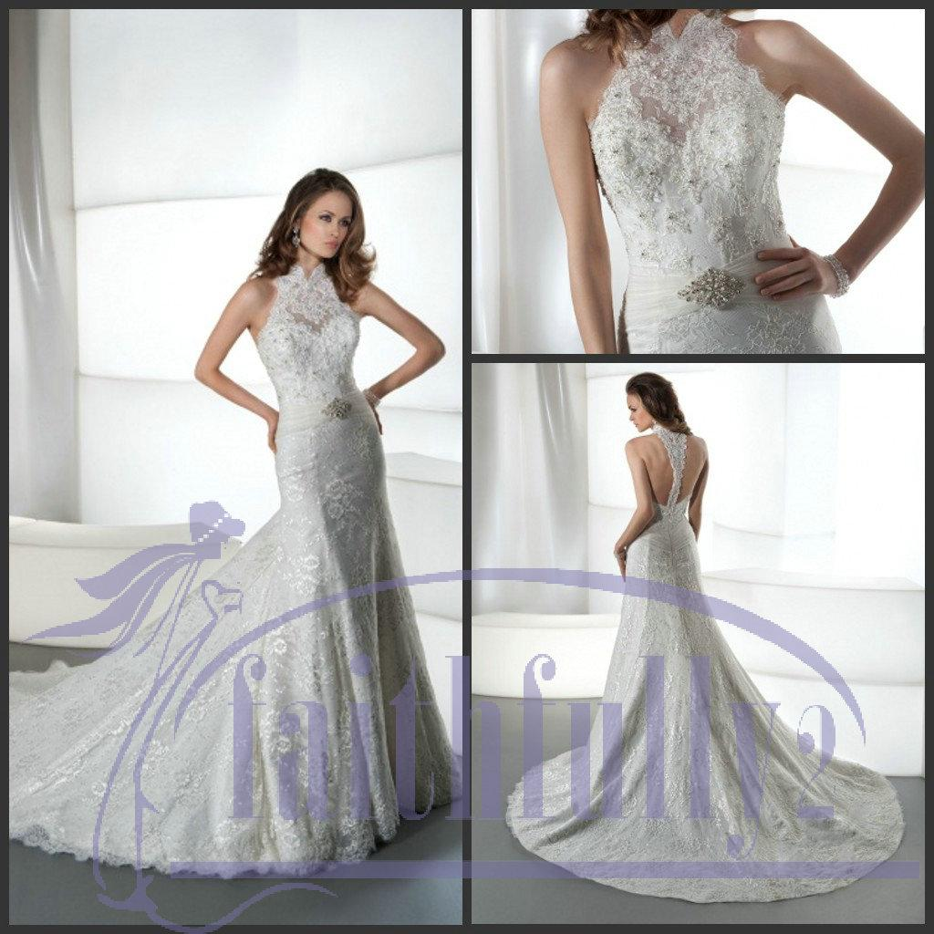 Halter Sweetheart Lace Trumpet Wedding Dresses Backless ...Halter Top Backless Wedding Dresses