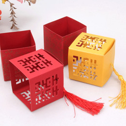 "red gold wedding favors UK - 50pcs Red   Gold Candy Box Chinese Style ""XI"" Paper Gift Jewelry DIY Boxes Wedding favors"