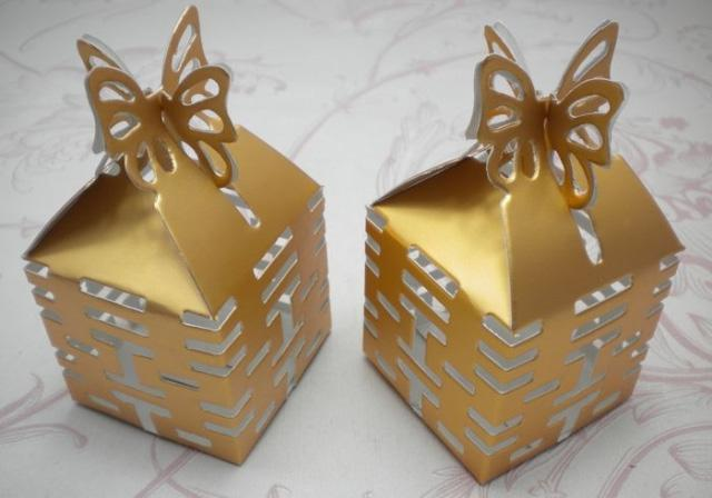 Diy Wedding Gift Box: Gold Butterfly Candy Box Xi Gift Diy Boxes Wedding Favors