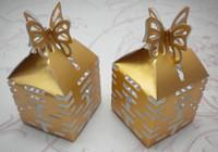 kelebek kutuları iyilikleri toptan satış-200 adet Altın Kelebek Şeker Kutusu XI Hediye DIY Kutuları Düğün tercih için 3 renkler yanadır