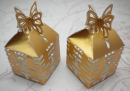 Wholesale Purple Wedding Boxes Favors - 200 pcs Gold Butterfly Candy Box XI Gift DIY Boxes Wedding favors 3 colors for choose
